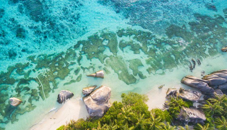 La plage tropicale des Seychelles